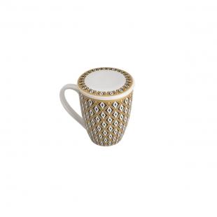 Caneca de Porcelana Super White C/Tampa e Filtro Tebas Preto/Dourado 310ml Caixa de Presente Lyor