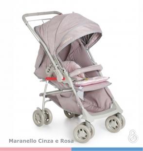 Carrinho Bebê Maranello II Cinza Rosa Galzerano