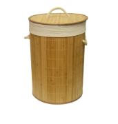 Cesto Para Roupas de Bambu Com Tampa Natural Btc Decor