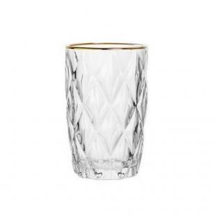Cj 6 Copos Altos Vidro  C/Fio Dourado Diamond Transparente 350ml Lyor