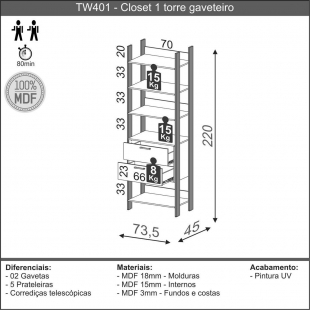 Closet 1 Torre Gaveteiro 73,6Cm Freijo/Preto Fosco TW401 Dalla Costa