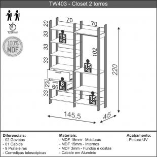 Closet 2 Torres 145,4Cm Freijo/Preto Fosco TW403 Dalla Costa