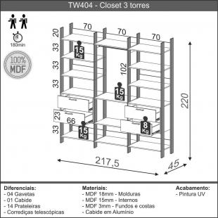 Closet 3 Torres 217,2Cm Freijo/Preto Fosco TW404 Dalla Costa