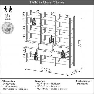 Closet 3 Torres 217,2Cm Freijo/Preto Fosco TW405 Dalla Costa