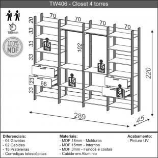 Closet 4 Torres 289Cm Freijo/Preto Fosco TW406 Dalla Costa