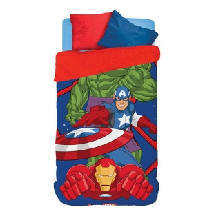 Coberdrom Fleece Dupla Face Solteiro Estampado Avengers Lepper