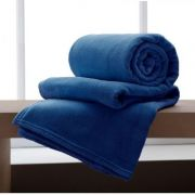 Cobertor Manta Microfibra Casal 180x220cm Home Design Marinho Corttex