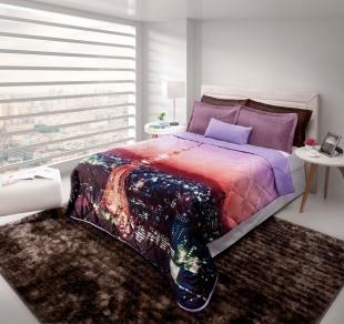 Cobre-leito Digital Print Casal Slim 200x220 Paris Hedrons