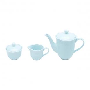 Conjunto 3 PÇS p/Chá e Café Porcelana Princess Azul Lyor