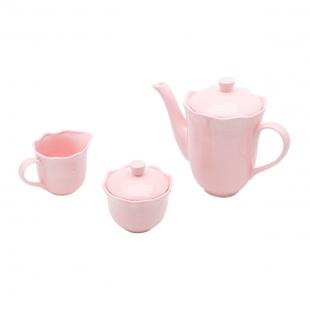 Conjunto 3 PÇS p/Chá e Café Porcelana Princess Rosa Lyor