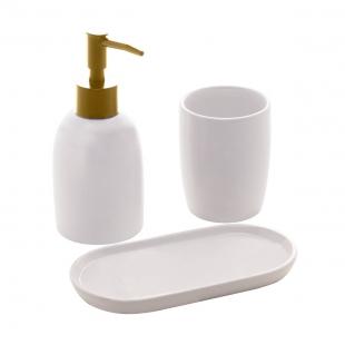 Conjunto 3 Pçs para Banheiro de Ceramica Paris Branco e Dourado Lyor