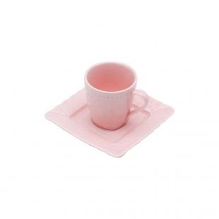 Conjunto 6 Xícaras para Café de Porcelana Heart Rosa 90ml Lyor