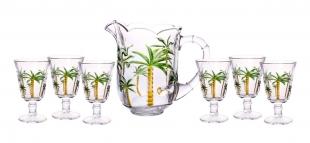 Conjunto 7 Pçs Jarra e 6 Tacas Cristal Palm Hand Painting 1,3L/240ml Lyor