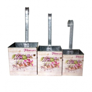 Conjunto Cachepot Flores 3pc Zinco Com Ganchos  Goods
