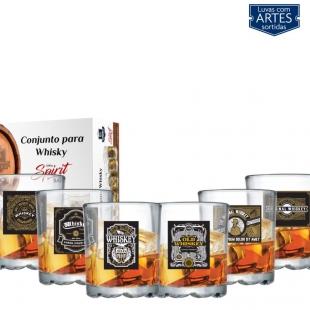 Conjunto de Copos Whisky Mirage On The Rocks Vidro de 250ml 6 Peças Ruvolo