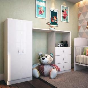 Conjunto Infantil Roupeiro e Cômoda Ninar Branco Completa Móveis