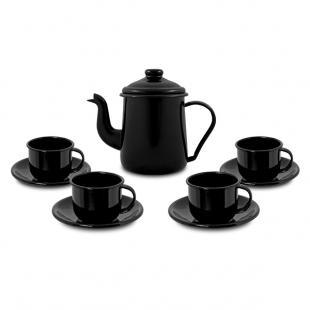 Conjunto para café Bule 1L Xícaras 120ml Esmaltado Preto Ewel