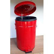 Lixeira Redonda Retrô 12 Litros Vermelha GhelPlus