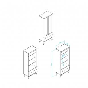 Cristaleira Retrô Rústico 2 Portas em Vidro 2 Gavetas Movelbento