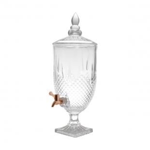 Dispenser/Suqueira 5L de Cristal Ecológico C/Torneira Gold Rose Diamante Lyor