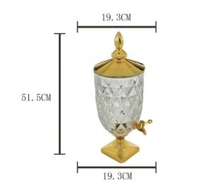Dispenser/Suqueira 5L de Cristal Ecológico Diamond C/Tampa Pé e Torneira Dourada Lyor