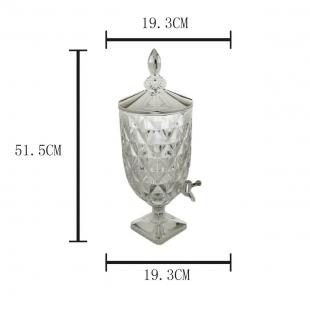 Dispenser/Suqueira 5L de Cristal Ecológico Diamond C/Tampa Pé e Torneira Prateada Lyor