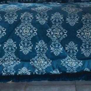 Edredom Plush Inove Estampado Queen 235x260cm Azul Mandala Hedrons