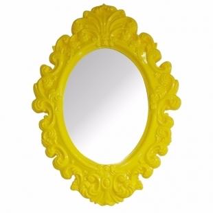 Espelho Urban Oval Rococó Provençal Amarelo Urban Brasil
