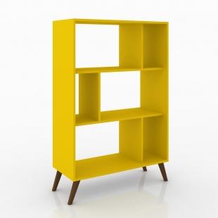 Estante para Livros Retrô Amarelo Com Nichos Movelbento