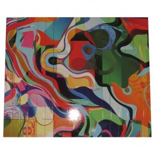Esteira Estofado Estampada Sem Porta Copo Colorido Abstrato Portal