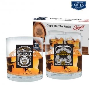 Jogo Copos Whisky On The Rocks Rótulos Spirit Bar de 320ml 2 Peças Ruvolo