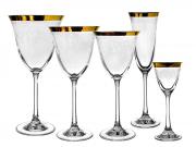 Jogo de Taças Florença 30 Peças Ouro Cristal Rona