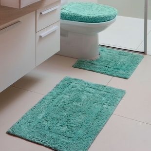 Jogo Tapetes Banheiro Capri Attuale 3pçs Mirante Aqua Fatex
