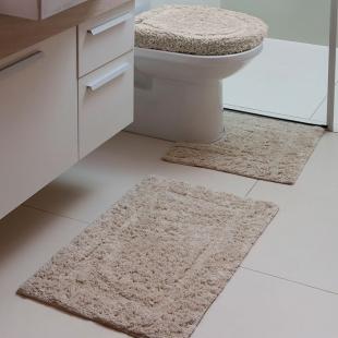Jogo Tapetes Banheiro Capri Attuale 3pçs Mirante Bege Fatex