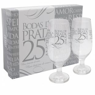 Kit 2 Taças Cerveja Hannover Com Caixa Bodas de Prata Simas