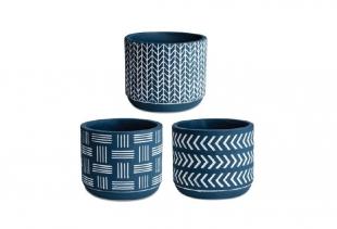 Kit Cachepot Azul em Cimento 3Pc 10420 Mart