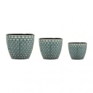 Kit Cachepot Verde em Cerâmica 3Pc 8179 Mart