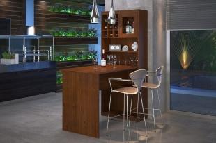 Kit Gourmet com Bancada Rubi Imbuia Finestra