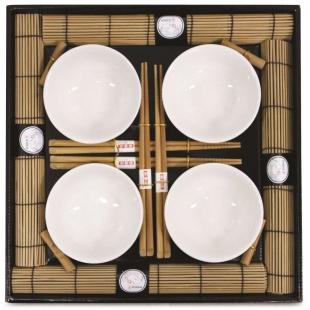 Kit Oriental Sushi 16 peças Hashi Bowl Esteira Kyoto Yoi