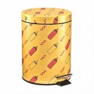 Lixeira Metálica Estampada Ketchup Mostarda 5L Mart