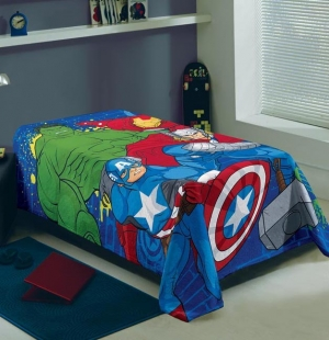 Manta Avengers Solteiro Estampada 1,50x2,20 cm Lepper