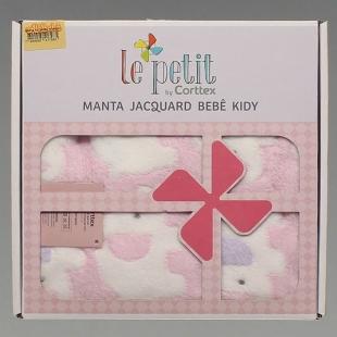 Manta Bebê Jacquard Kidy Le Petit Titi Rosa Corttex