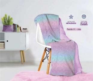 Manta Fleece Dupla Face Solteiro Kids Glam 1,60x2,40 cm Lepper