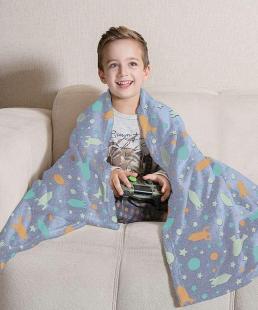 Manta Fleece Dupla Face Solteiro Kids Glow Azul 1,25x1,50 cm Lepper