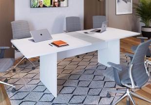 Mesa de Reunião Branco/Cinza M.com