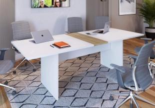 Mesa de Reunião Branco/Macadamia M.com