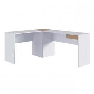 Mesa em L Branca/Macadamia M.com