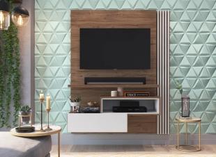 Painel Para Tv Est101 1,35 1 Porta Branco/Madeirado Estilare Móveis