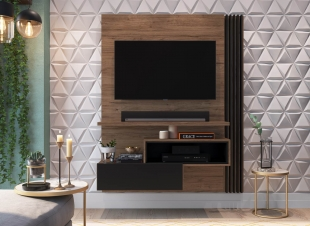 Painel Para Tv Est101 1,35 1 Porta Preto/Madeirado Estilare Móveis
