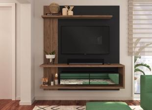 Painel Para Tv Est203 1,60 2 Portas C/ Espelho Branco/Madeirado Estilare Móveis